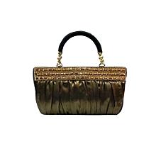 Shimmer Hued Vogue Handbag - Dark Gold