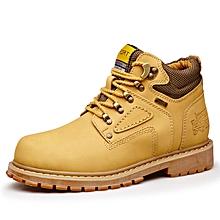 Spring Autumn Men Outdoor Hiking Mountain Climbing Shoes Leather Men Trekking Shoes Waterproof Wearable - Yellow