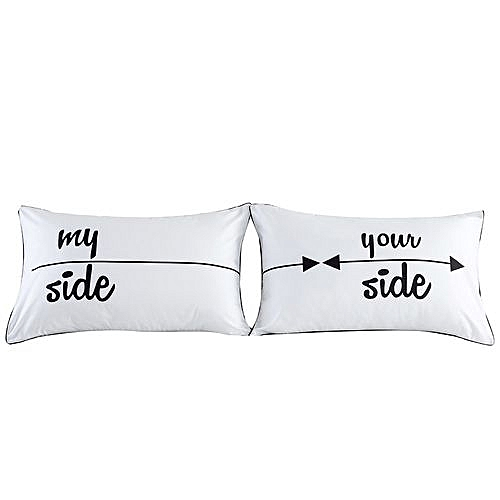 Set Of 2 Couples Pillow Cases Letters Printed Pillowcases Bedding Wedding  D-White