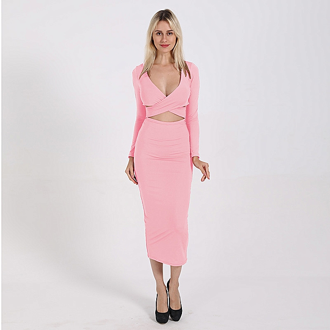 a5528b60f1803 Women Hollow Out Bodycon Dress Deep V Neck Long Sleeves High Waist Solid  Casual Long Dress ...