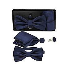 Men's Bow Tie, Cufflinks & Pocket Square Set - Dark Blue