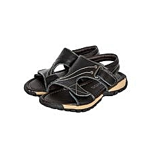 Black Open Sandals With Velcro Straps In The Middle And Infront