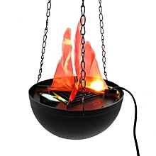 Hanging Electric Fake Fire Brazier For Halloween Party Decor Supplies - Black