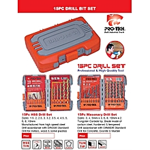 15pc Mason Drill Bit Set with case