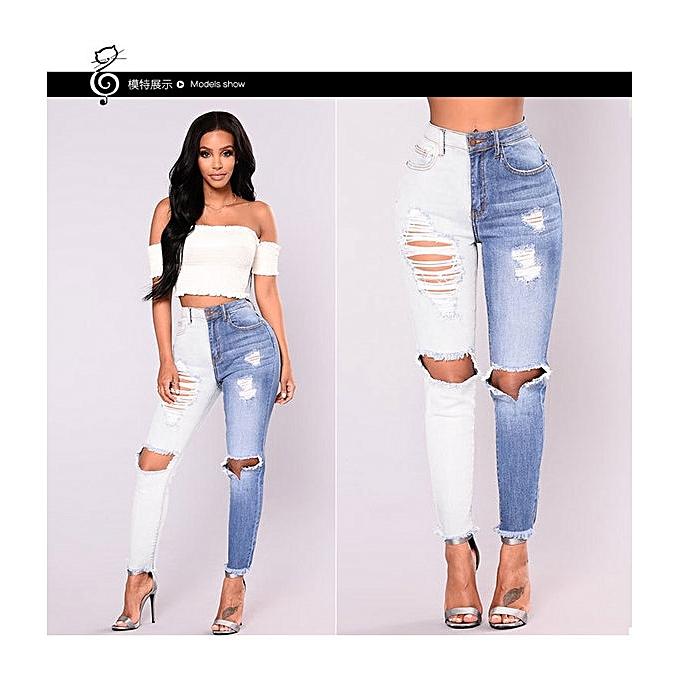14c8ca74c7 Hot sale women's skinny jeans high waist stretch pants hole jeans slim  holes white