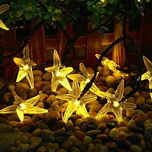 Generic Solar Christmas light string 30led starfish festive lights outdoor decorative string lights Warm white