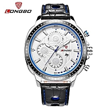 80198 Luxury Man Genuine Leather Watch Sports Quartz Watches For Men Male Leisure Clock Simple Watch - White