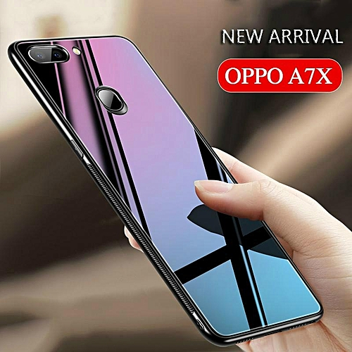 low priced 6bdca daf18 Glass Case For OPPO A7X Cover Full Protection Tempered Glass Back Cover  Casing For OPPO A7 X Housing 288948 (Black)