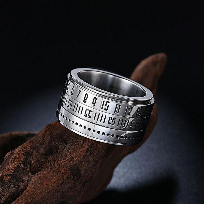 f95baa2868102 Fashion Men Time Rotating Ring Titanium Steel Arabic Numerals Calendar Ring  Clock Size 7
