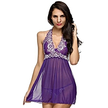 Avidlove Women Sexy Lady Lace Patchwork Halter Sleepwear Babydoll Lingerie Set Mini Night Dress + G-String-Purple