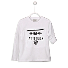 White Fashionable Solid Regular Crew Neck T-Shirt