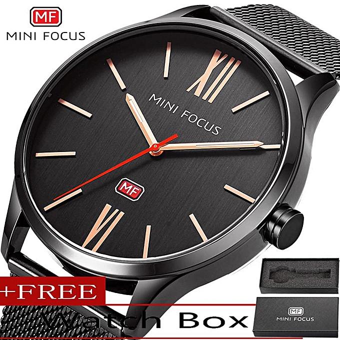 Minifocus Top Luxury Brand Watch Ultra Thin Quartz Watches Male Fashion Business Clock Stainless Steel Men Wristwatches