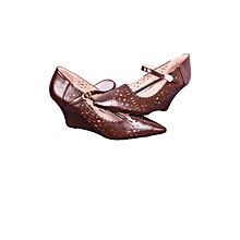 Brown High-heel Wedged Ladies Shoes