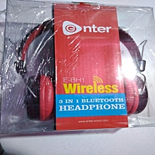 E-Bh1 Wireless 3 in1 Bluetooth Headset Stereo Headphone For Smartpnones/ iPhones-Red