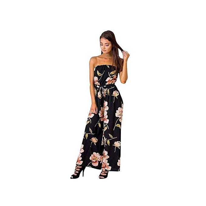 e48a38c940 bluerdream-Women Off Shoulder Floral Playsuit Ladies Romper Long Jumpsuit  Trouser - Black L