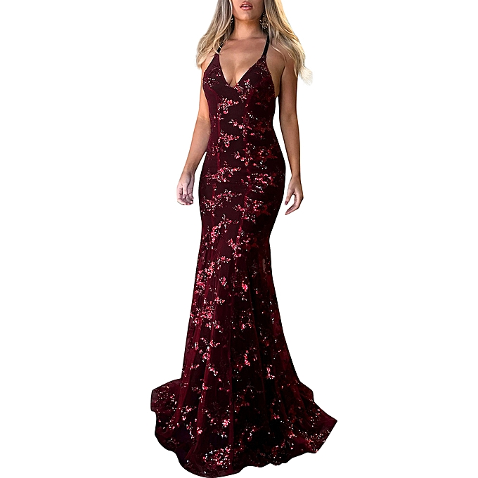 ... New Sexy Women Sequined Maxi Dress Floor Length Sequins Backless  Bodycon V Neck Strappy Party Dress 59090c68d