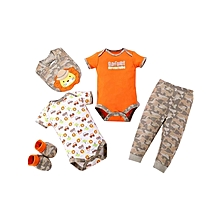 Boys Short Sleeved Tops & Pants 5 Piece Set - Safari Adventure