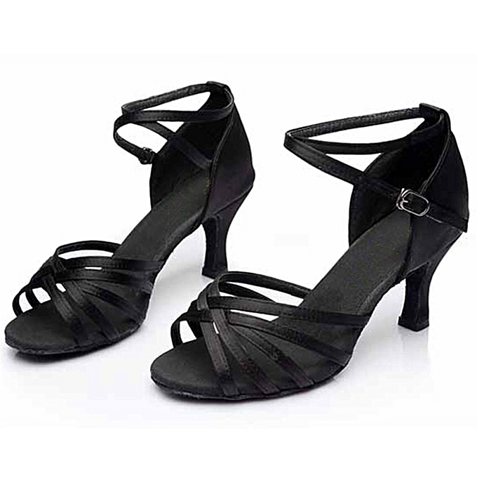1d40c95cc Women's Ladies Ballroom Latin Tango Dance Shoes Heeled Salsa 3 Colors 5/7CM  BLACK 7CM