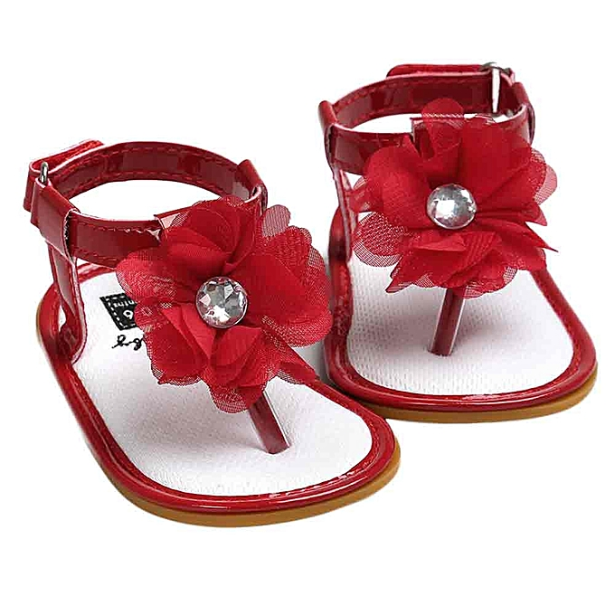 93ab5cf6dd7 Baby Flower Pearl Sandals Toddler Princess First Walkers Girls Kid Shoes-  Red ...