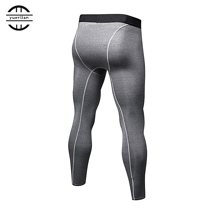 3f8af52556 Generic Men Solid Color Compression Pants Tights Casual Bodybuilding Skinny  Leggings Gray