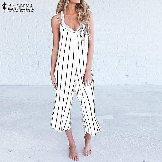2800e7f2444 ZANZEA Women Stripe Sleeveless V Neck Strappy Wide Leg Plus Jumpsuits  Overalls