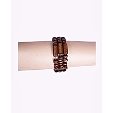 Wooden Brown Long And Cylinder Pieces Bracelet Elastic Adjustable Unisex Locally Kenyan African Handmade Office Casual Bracelet Bungle