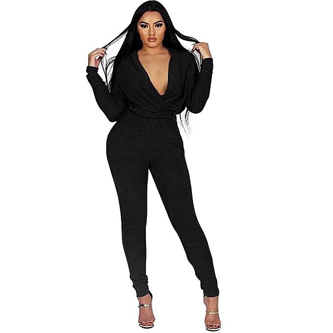 ... V Neck Long Sleeve Bandage Jumpsuit  competitive price 9c394 3ae5b jiuhap  store Womens Sexy Long Sleeve Bodycon Romper Jumpsuit Club Bodysuit Long ... c62e904f1da