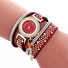 Women Ladies Metal Decorative Circle Quartz Watch Winding Bracelet RD