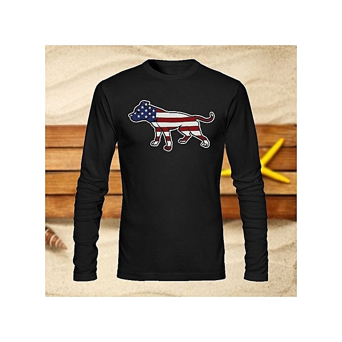 0f74609a4 Pit Bull American Pitbull Standing Proud Men's T-shirt Fashion Long Sleeve  Tees Round Neck