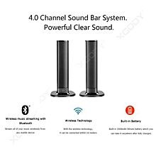Bluetooth Detachable Stereo Dual Speaker with Strong Bass Wireless TV Soundbar Sound Bar - Black
