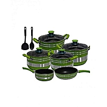 Non Stick Cooking Pot 12 Pieces - Green & Silver .