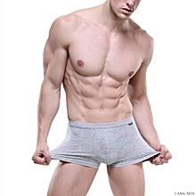 LANGSHA Men's underwear, men's flat trousers, medium waist printed bamboo fiber 3D cabin sexy boy four angle shorts head