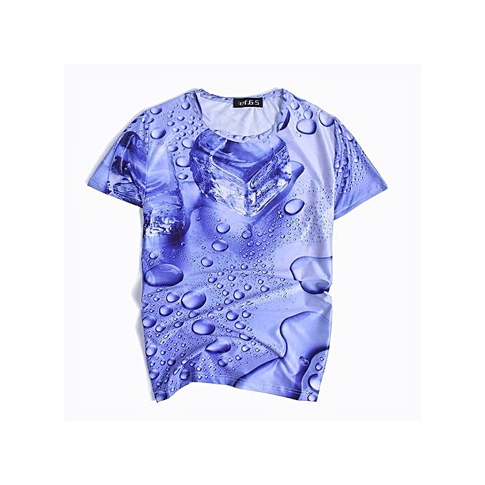 9d670a6a2243 Refined Men s Leisure T-shirt Short Sleeved T-shirts Round Neck Water Drops  Ice