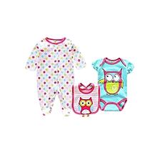 3 Piece Baby Set ( Romper + Bodysuit + bib)  -  Multicolour .