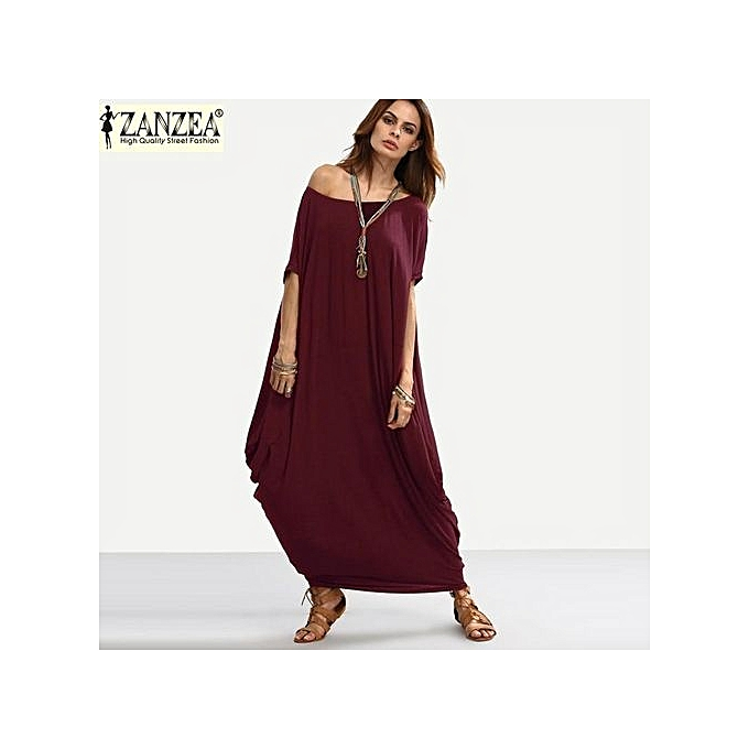 a8d0508138d8 ZANZEA Plain Women Maxi Dress Short Sleeve Off Shoulder Oversized Long  Shift Dress Baggy Robe (