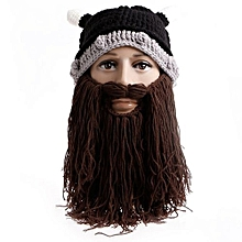 Fashion Creative Wool Knit Ox Horn Beard Hat Warm Comfortable Beanie Hat Halloween Gifts Color:Brown + Beard