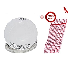 6 Piece Soup Plate Set - White with Black Circles & Misty Drops + FREE Gift Kitchen Towel.