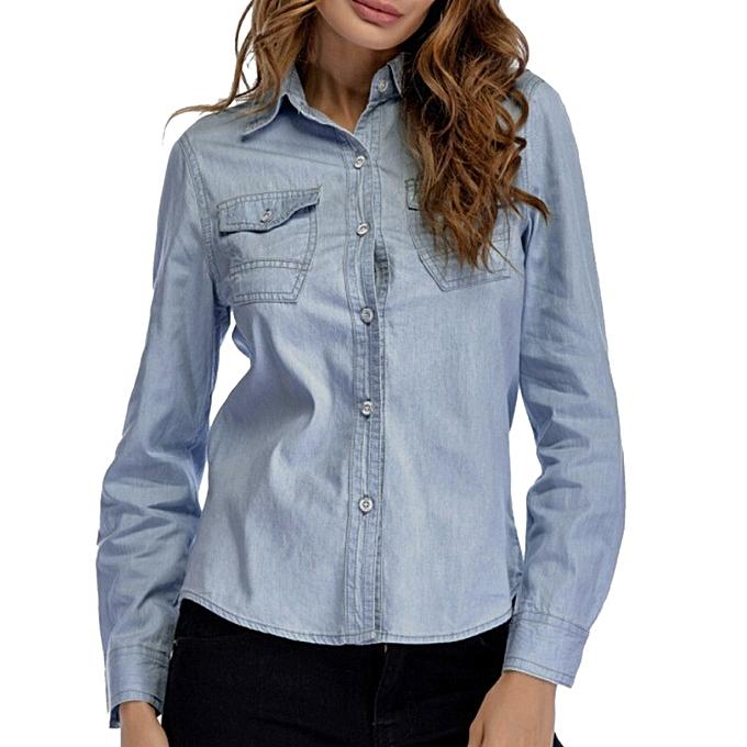 de28ebc47a1b2 Women Denim Shirt Fashion Style Long Sleeve Casual Shirts Women Blouse Tops