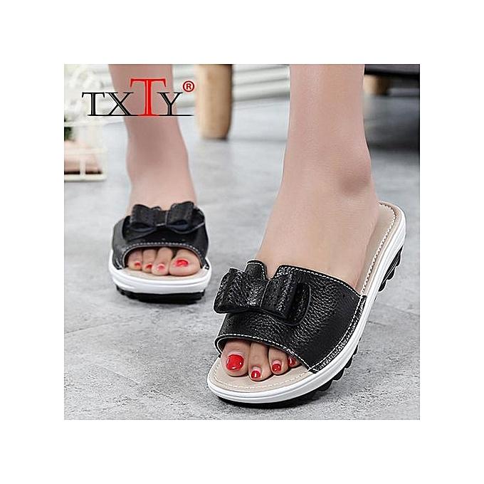 feeafcae9e6 Women Sandals Shoes Leather Flat Sandals Low Heel Wedges Summer Women Open  Toe Platform Sandalias Ladies