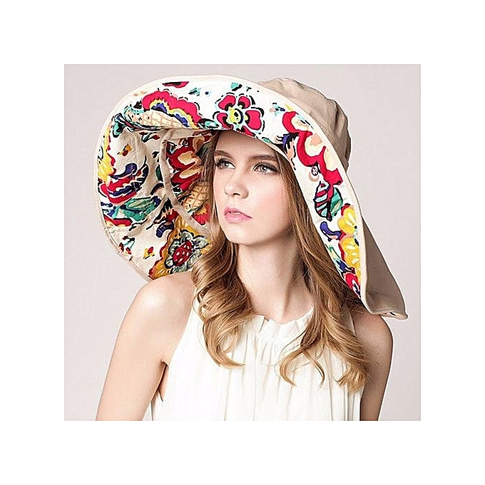 Women Lady Beach Sun Hat Floppy Wide Large Brim Summer Anti UV Dual Purpose  Cap Beige 2e38d321118