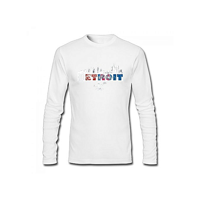 the latest 009a6 0a116 Detroit Red Wings Lions Tigers Pistons Men's Cotton Long Sleeve T-shirt  White