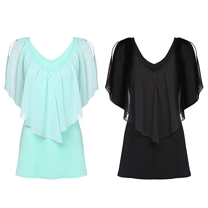 Fashion Trendy Plunge Neck Layered Flounce Women Chiffon T-shirt ... 90cb03dd8