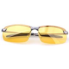 Anti-Glare TAC Men Driving Yellow Lens Sunglasses Night Vision Polarized Glasses #Gray