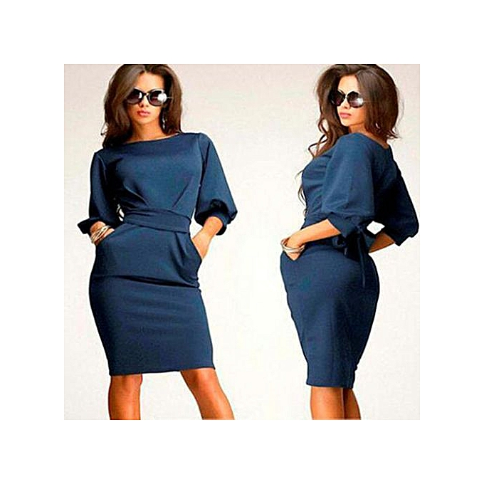 27df878f78cf5 RanickenWomen Working Half Sleeve O-Neck Sheath Casual Office Slim Dress D  BU/L