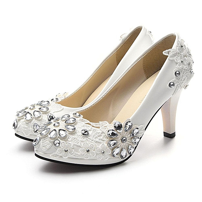 a6d2222600b6 ... NEW Women White Floral Stilettos Rhinestone Wedding Shoes Bridal High  Heels Gift white