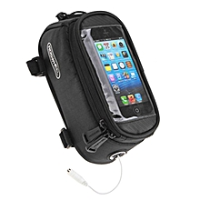 Touch Screen Top Tube Saddle Bag For Cell Phone - Black (L)