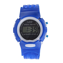 Boys Girls Students Time Sport Electronic Digital LCD Wrist Watch Blue