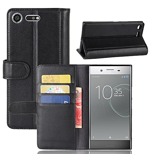hot sale online a83a5 bc84d Real Leather Wallet Case Cover for Sony Xperia XZ Premium