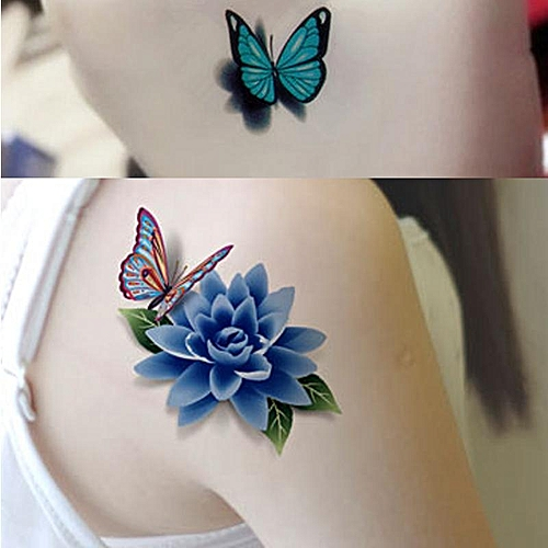 6ea987733c05e Generic Colorful 3D Butterfly Flower Rose Tattoo Sticker Waterproof  Temporary Decal DIY Body Art. By Generic