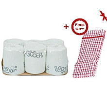 6 Piece Mug Set - White with Black Circles + FREE Gift Kitchen Towel.